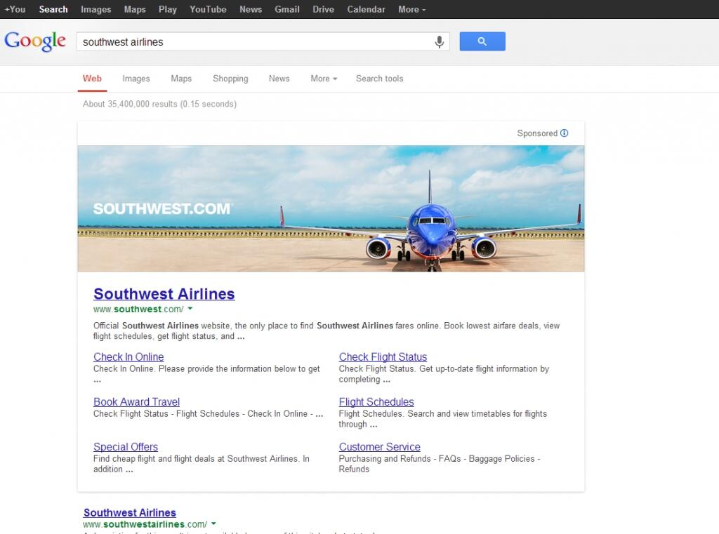 Southwest Airlines Google Banner